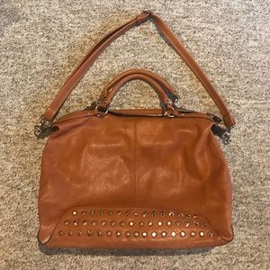 brown leather Buckle purse with gold studs!